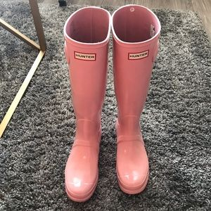 EUC Hunter Tall Wellington Boots Pink Glossy
